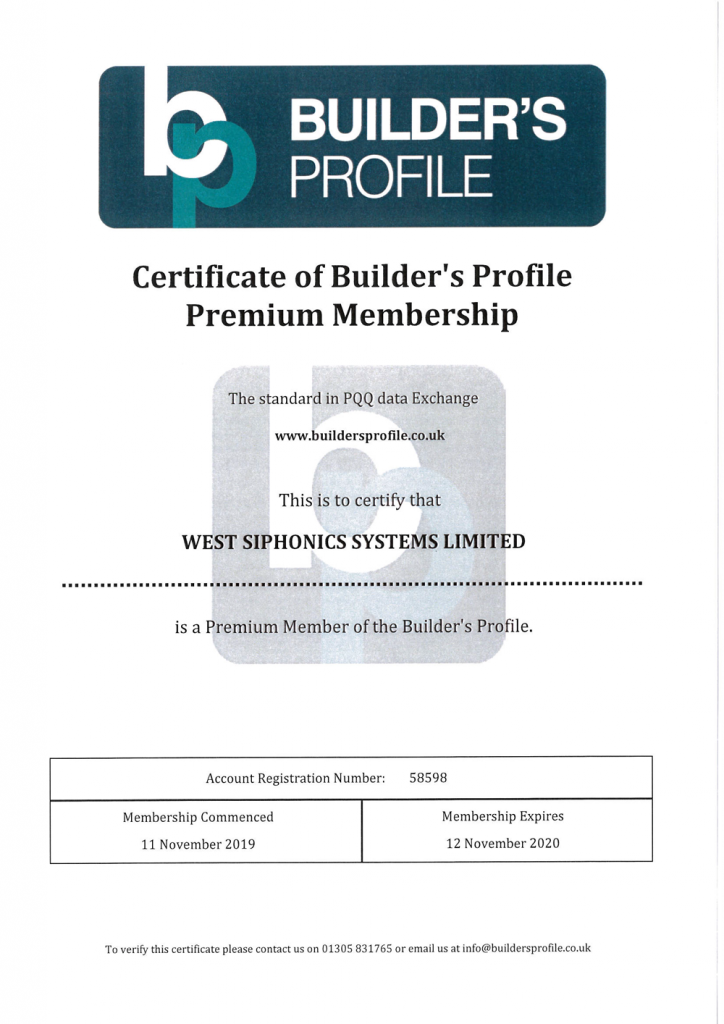 West Siphonics Systems England Scotland Siphonic Roof Drainage Specialists Design Manufacture Installation Project Management Builder's Profile Certificate