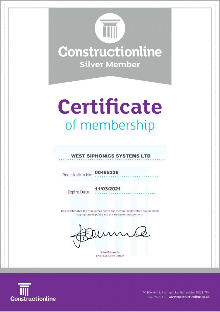 West Siphonics Systems England Scotland Siphonic Roof Drainage Specialists Design Manufacture Installation Project Management Constructionline Certificate Silver