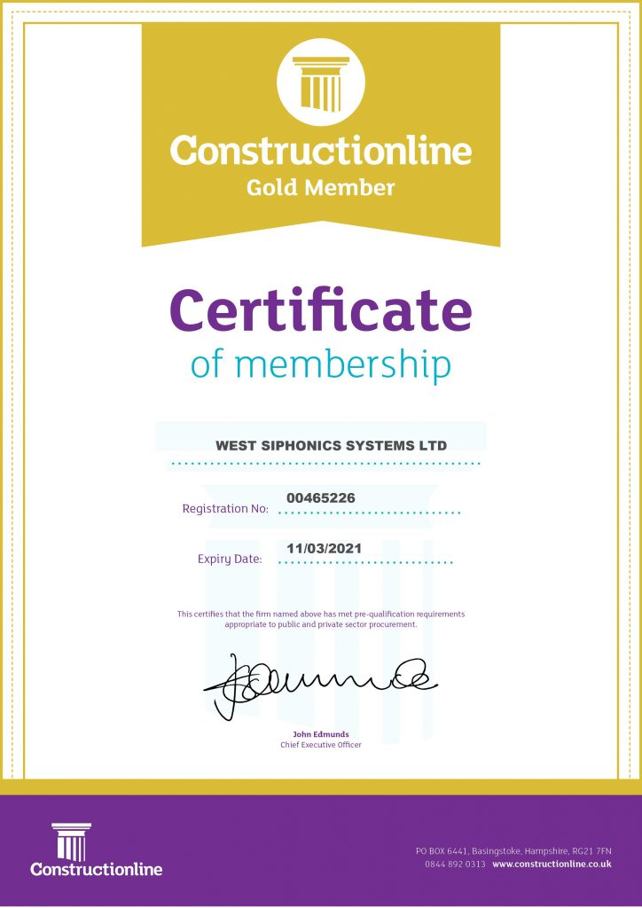 West Siphonics Systems England Scotland Siphonic Roof Drainage Specialists Design Manufacture Installation Project Management Constructionline Certificate Gold