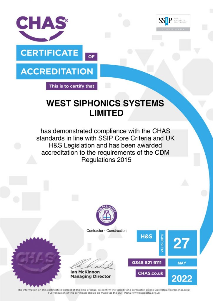 West Siphonics Systems England Scotland Siphonic Roof Drainage Specialists Design Manufacture Installation Project Management V&A Museum Dundee 2 CHAS-Certificate-of-Accreditation