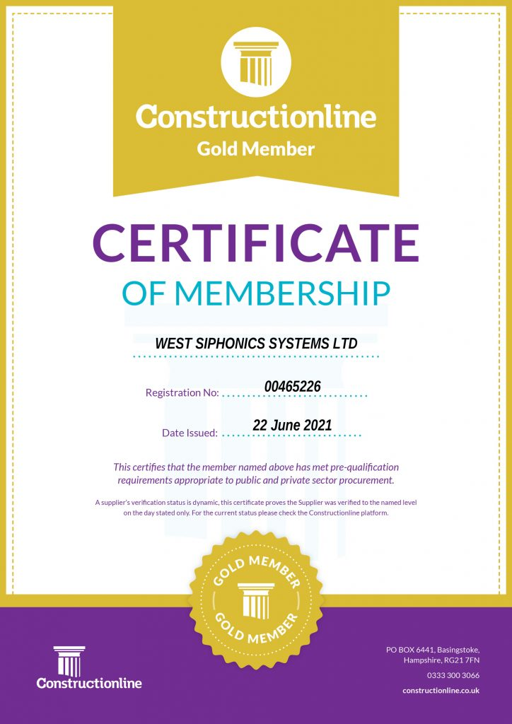 West Siphonics Systems England Scotland Siphonic Syphonic Roof Drainage Specialists Design Manufacture Installation Project Management Certificate of Accreditation Constructionline Gold Sy