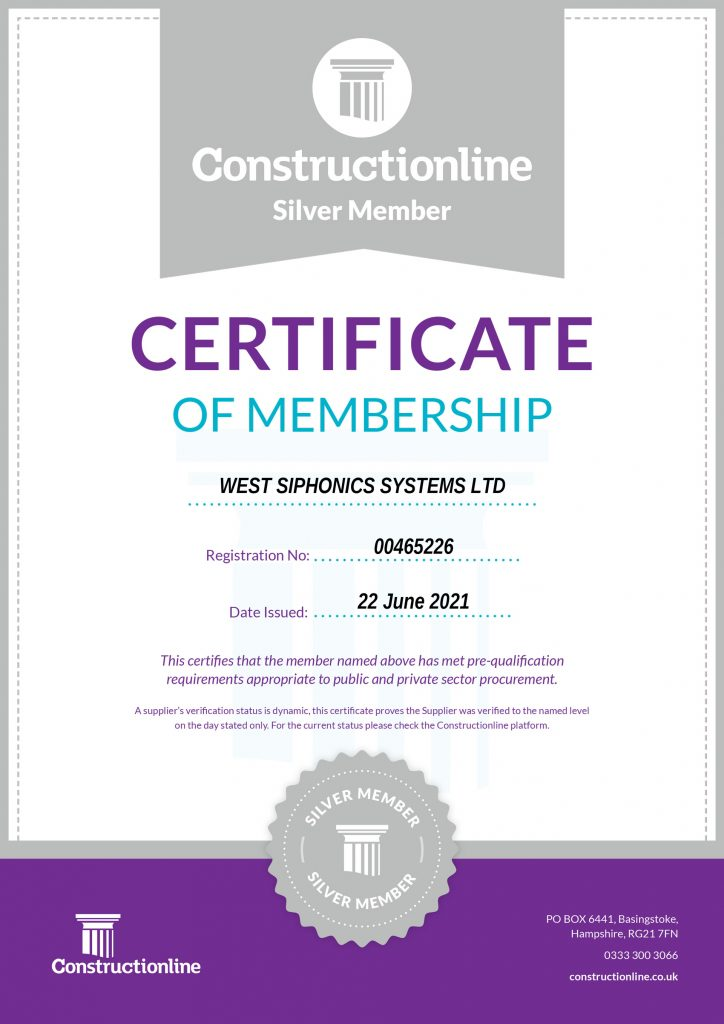 West Siphonics Systems England Scotland Siphonic Syphonic Roof Drainage Specialists Design Manufacture Installation Project Management Certificate of Accreditation Constructionline Silver Sy